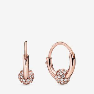 PANDORA Pave Bead Hoop Earrings